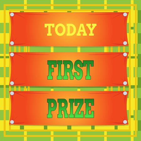 Text sign showing First Prize. Business photo showcasing the most desirable or grand prize offered for the overall winner Wooden panel attached nail colorful background rectangle lumber plank wood
