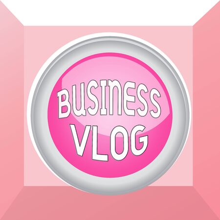 Conceptual hand writing showing Business Vlog. Concept meaning A video content about subject matter related to the company Colored sphere switch center background middle round shaped Banco de Imagens