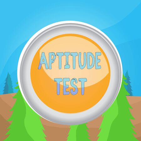 Word writing text Aptitude Test. Business photo showcasing designed to determine a demonstrating ability in a particular skill Circle button colored sphere switch center background middle round shaped Banque d'images