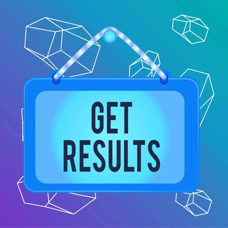 Word writing text Get Results. Business photo showcasing to proceed or arise as a consequence effect or conclusion Board fixed nail frame string striped colored background rectangle panel Stock fotó