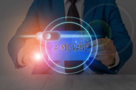 Writing note showing A Migraine. Business concept for recurrent throbbing headache that affects one side of the head Reklamní fotografie