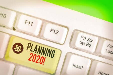 Conceptual hand writing showing Planning 2020. Concept meaning process of making plans for something next year Standard-Bild - 142244780