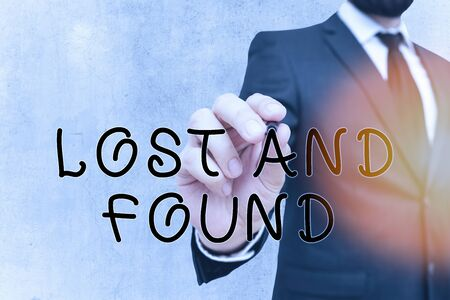 Writing note showing Lost And Found. Business concept for a place where lost items are stored until they reclaimed
