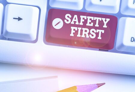 Text sign showing Safety First. Business photo text used to say that the most important thing is to be safe