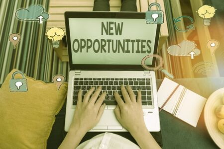 Writing note showing New Opportunities. Business concept for exchange views condition favorable for attainment goal