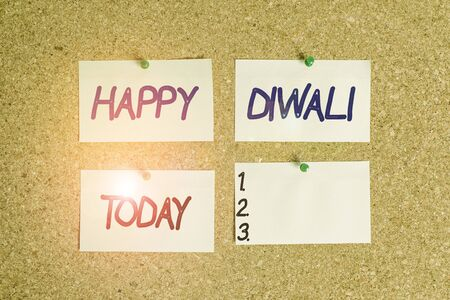Handwriting text writing Happy Diwali. Conceptual photo festival of lights that celebrated by millions of Hindus Corkboard color size paper pin thumbtack tack sheet billboard notice board