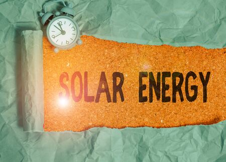Word writing text Solar Energy. Business photo showcasing radiation from the Sun capable of producing heat or electricity