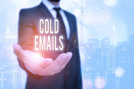 Conceptual hand writing showing Cold Emails. Concept meaning unsolicited email sent to a receiver without prior contact