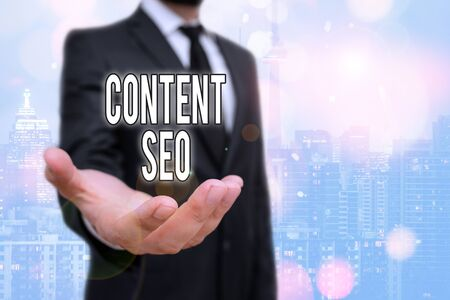 Conceptual hand writing showing Content Seo. Concept meaning creating webpage content to rank high in the search engines