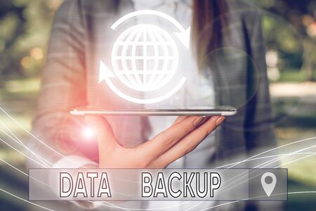 Conceptual hand writing showing Data Backup. Concept meaning copy of important data that is stored on an alternative location