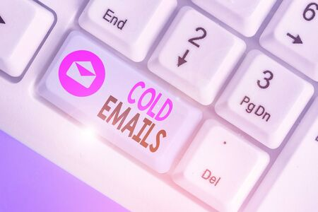 Word writing text Cold Emails. Business photo showcasing unsolicited email sent to a receiver without prior contact Banco de Imagens
