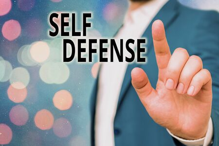 Text sign showing Self Defense. Business photo showcasing the act of defending one s is demonstrating when physically attacked