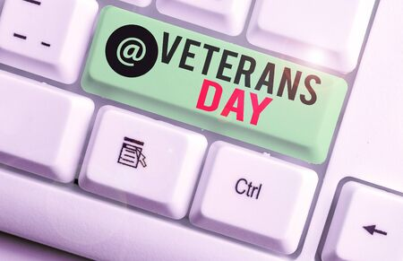 Conceptual hand writing showing Veterans Day. Concept meaning a public holiday to honour US veterans and victims of all wars