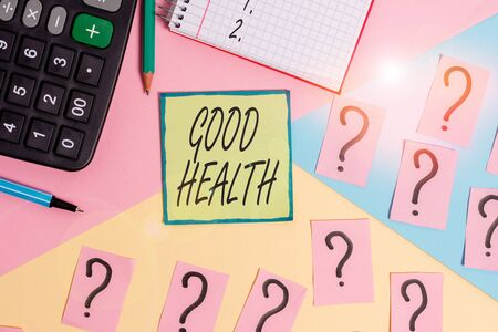 Handwriting text writing Good Health. Conceptual photo state of being vigorous and free from bodily or mental disease Mathematics stuff and writing equipment above pastel colours background
