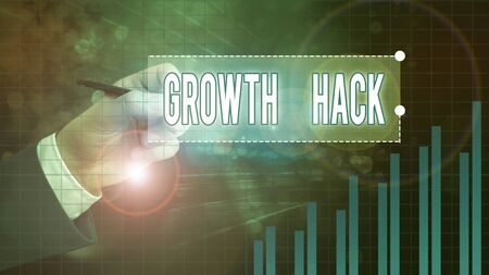 Text sign showing Growth Hack. Business photo showcasing generally to acquire as many users or customers as possible