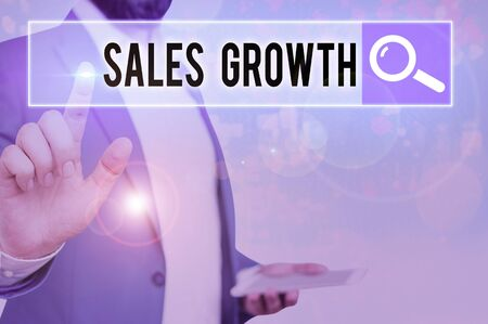Word writing text Sales Growth. Business photo showcasing ability to increase revenue over a fixed period of time Фото со стока