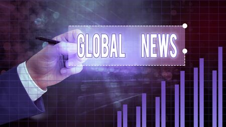 Text sign showing Global News. Business photo showcasing world noteworthy information about recent or important events Stock Photo