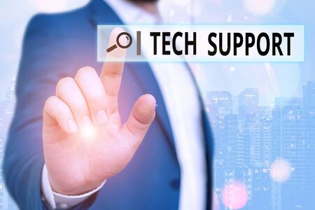 Text sign showing Tech Support. Business photo showcasing advising and troubleshooting service provided by a manufacturer