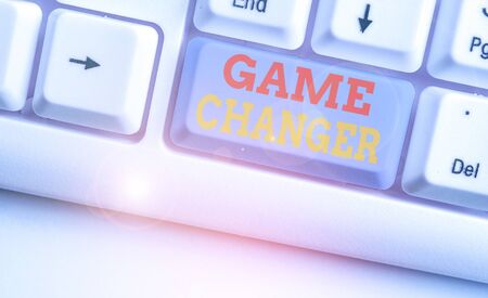 Text sign showing Game Changer. Business photo text way that effects a major shift in the current manner of doing