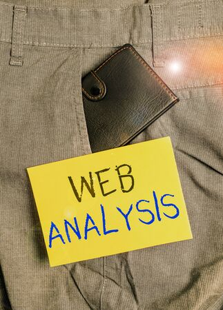 Writing note showing Web Analysis. Business concept for process of analyzing the behavior of visitors to a web site Small wallet inside trouser front pocket near notation paper Foto de archivo