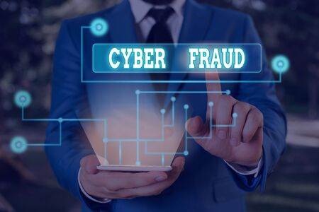 Text sign showing Cyber Fraud. Business photo showcasing any crime that is committed with the use of a computer