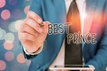 Word writing text Best Prince. Business photo showcasing the male royal ruler of a small country Son of the king or queen