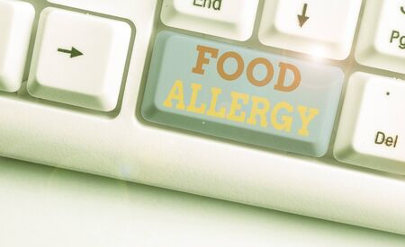 Text sign showing Food Allergy. Business photo text an abnormal immune response after eating a certain food