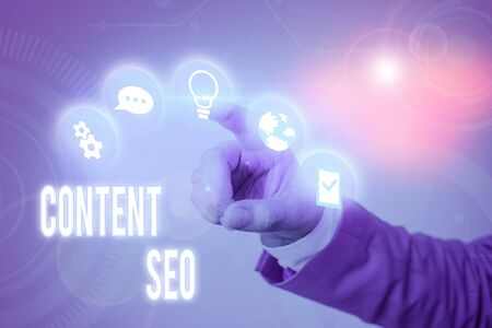 Writing note showing Content Seo. Business concept for creating webpage content to rank high in the search engines