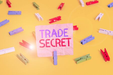 Handwriting text Trade Secret. Conceptual photo technique used by a company in manufacturing its products Colored clothespin papers empty reminder yellow floor background office