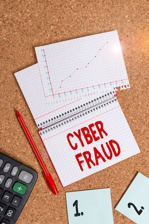 Word writing text Cyber Fraud. Business photo showcasing any crime that is committed with the use of a computer Desk notebook paper office cardboard paperboard study supplies table chart