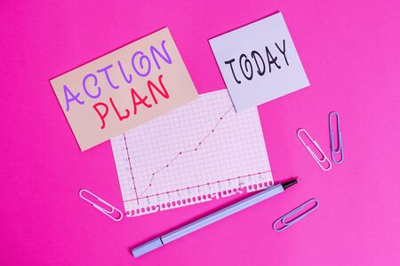 Word writing text Action Plan. Business photo showcasing the detailed plan outlining actions needed to reach goals Stationary and note paper plus math sheet with diagram picture on the table