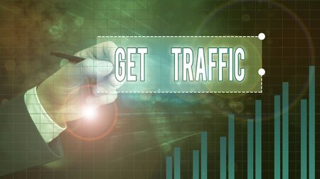 Text sign showing Get Traffic. Business photo showcasing amount of data sent and received by visitors to a website