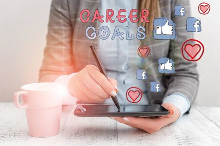 Conceptual hand writing showing Career Goals. Concept meaning profession that an individual intends to pursue in his career