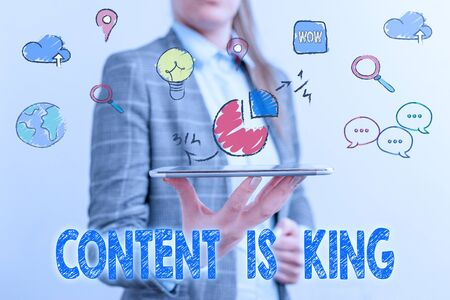 Word writing text Content Is King. Business photo showcasing marketing focused growing visibility non paid search results