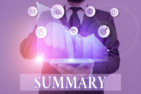 Word writing text Summary. Business photo showcasing brief statement or account of main points of something subject