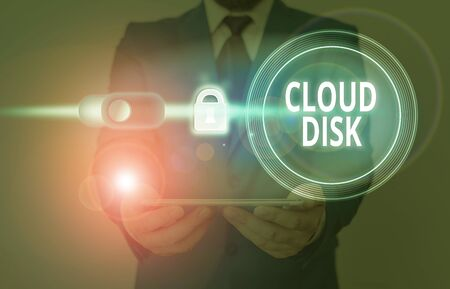 Text sign showing Cloud Disk. Business photo showcasing web base service that provides storage space on a remote server