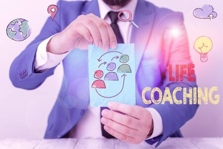 Word writing text Life Coaching. Business photo showcasing demonstrating employed to help showing attain their goals in career