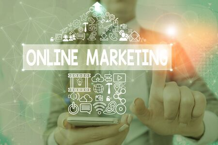 Writing note showing Online Marketing. Business concept for leveraging web based channels spread about companys brand 写真素材