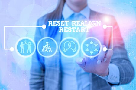 Writing note showing Reset Realign Restart. Business concept for Life audit will help you put things in perspectives Stock Photo