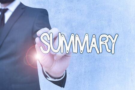 Writing note showing Summary. Business concept for brief statement or account of main points of something subject