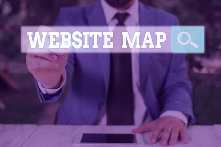 Conceptual hand writing showing Website Map. Concept meaning designed to help both users and search engines navigate the site