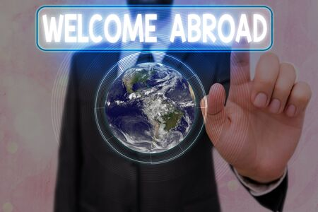 Writing note showing Welcome Abroad. Business concept for something that you say when someone gets on ship
