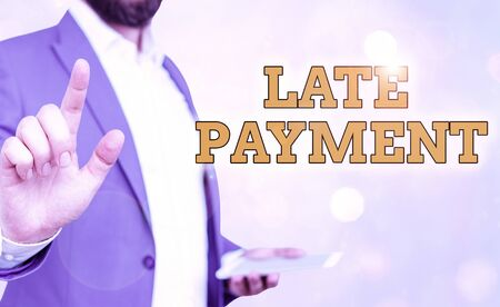 Word writing text Late Payment. Business photo showcasing payment made to the lender after the due date has passed
