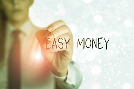 Word writing text Easy Money. Business photo showcasing money that is easily have and sometimes dishonestly earned