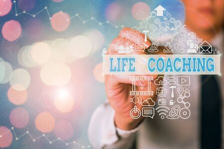 Conceptual hand writing showing Life Coaching. Concept meaning demonstrating employed to help showing attain their goals in career Zdjęcie Seryjne