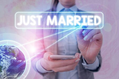 Text sign showing Just Married. Business photo text someone who has recently married or undergo matrimony