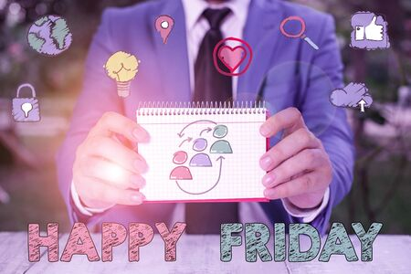 Writing note showing Happy Friday. Business concept for Greetings on Fridays because it is the end of the work week