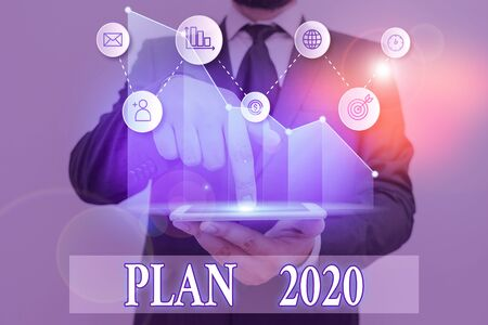 Word writing text Plan 2020. Business photo showcasing detailed proposal for doing or achieving something next year