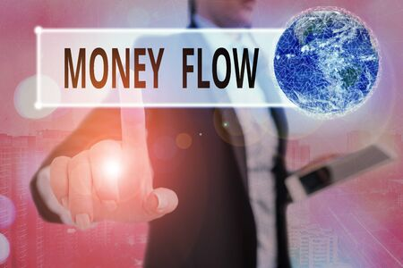 Writing note showing Money Flow. Business concept for the increase or decrease in the amount of money a business