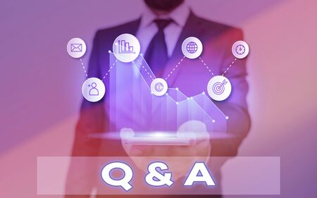 Word writing text Q And A. Business photo showcasing defined as questions being asked and answers
